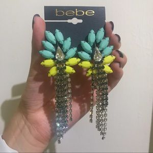 Bebe Highlighter Teal and Yellow Earrings